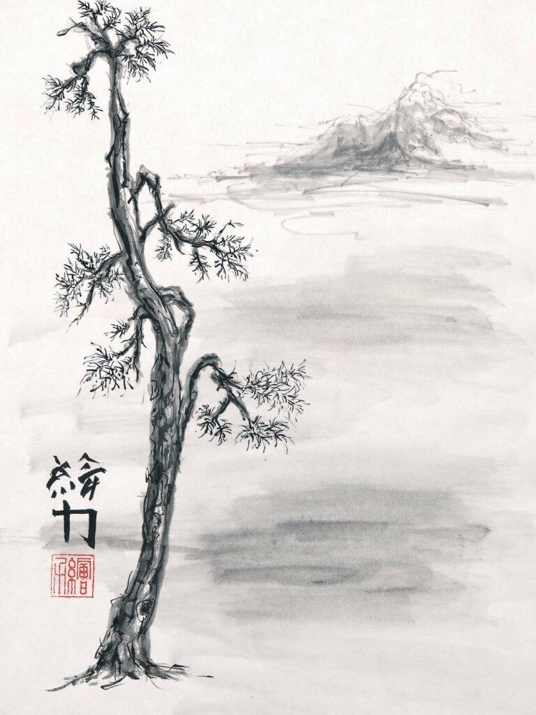 Art by HombretheArtist (aka Erik Hombre Gudowski) Sumi-e Pine 4