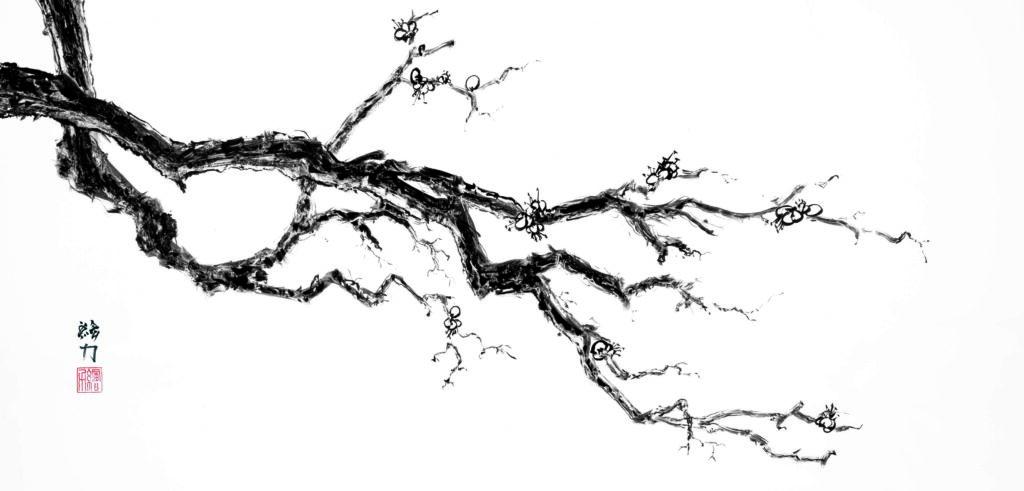 Art by HombretheArtist (aka Erik Hombre Gudowski) Sumi-e Plum Blossom 1
