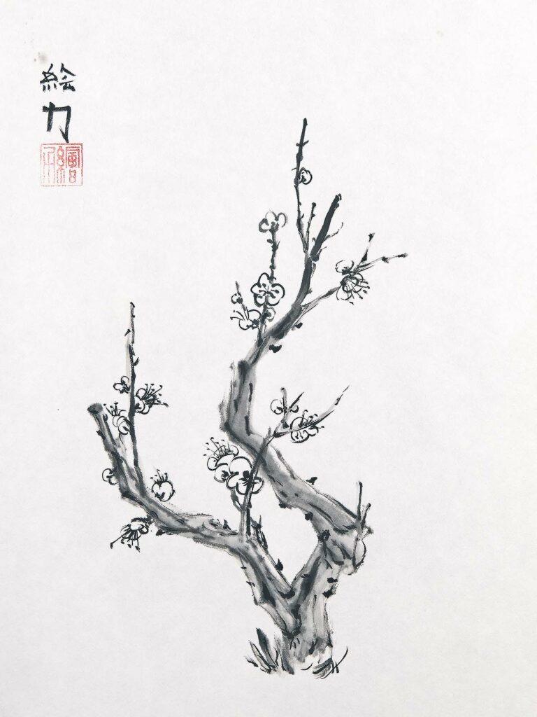 Art by HombretheArtist (aka Erik Hombre Gudowski) Sumi-e Plum Blossom 2