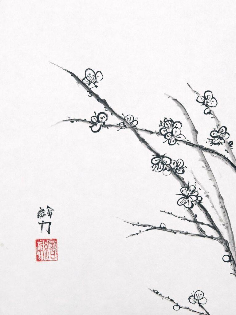 Art by HombretheArtist (aka Erik Hombre Gudowski) Sumi-e Plum Blossom 3
